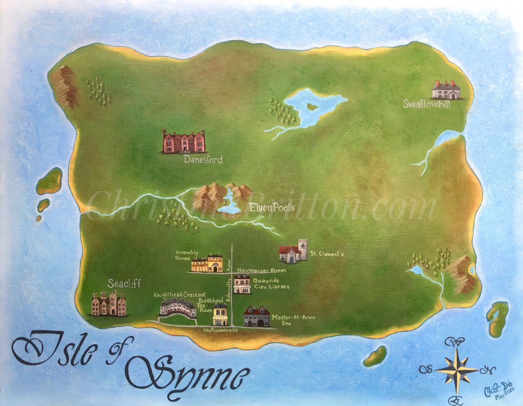 Map of the Isle of Synne, acrylics on canvas board by Christina Britton